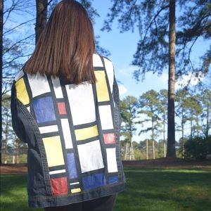 Hand painted color block jean jacket